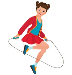 Girl with a skipping rope vector image