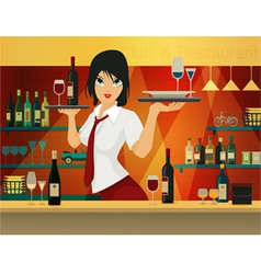 Female bartender vector