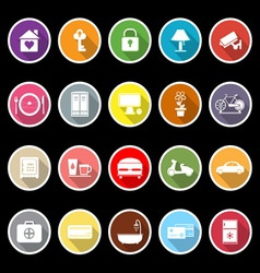 General home stay flat icons with long shadow vector