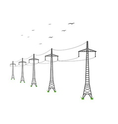High voltage power lines vector