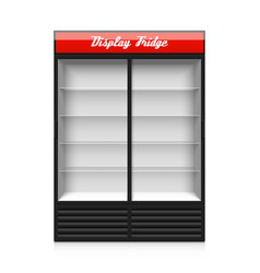 Double glass sliding door display fridge vector