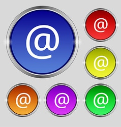 E-mail icon sign round symbol on bright colourful vector