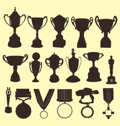 Trophy and medals silhouettes vector