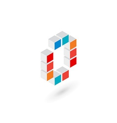 3d cube letter o number 0 logo icon design vector