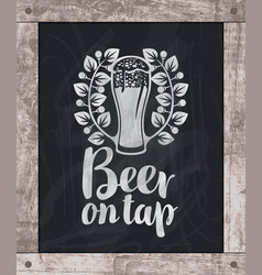 Beer glass drawing chalk on board in wooden frame vector