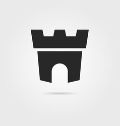 Black fortress icon with shadow vector