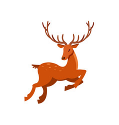 brown spotted deer with antlers running wild vector image