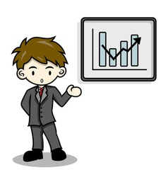 Business man is explaining with whiteboard vector image