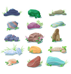 cartoon natural stones and boulders collection vector image vector image