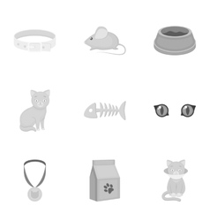 Cat equipment set icons in monochrome style big vector