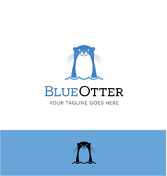 cute blue otter logo vector image