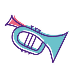 Cute trumpet sticker music instruments vector