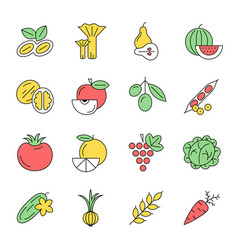 Digital green vegetable icons set vector
