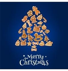 Gingerbread christmas tree greeting card design vector