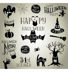 Halloween vintage silhouettes vector