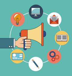 Hand holding digital marketing design vector