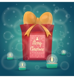 Happy New Year Gift with calligraphy cute Merry vector image vector image