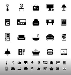 Home furniture icons on white background vector image vector image