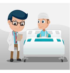 Hospital doctor patient room background vector