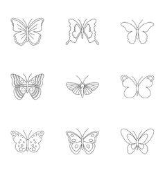 Insects butterflies icons set outline style vector