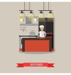 Kitchen interior in restaurant poster vector