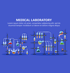 medical laboratory equipment with glass flask vector image vector image