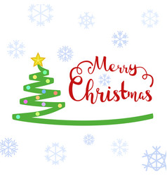 merry christmas text with christmas tree vector image vector image