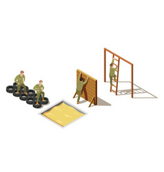 military recruit training isometric composition vector image