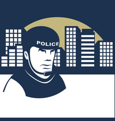 policeman guards the city vector image vector image