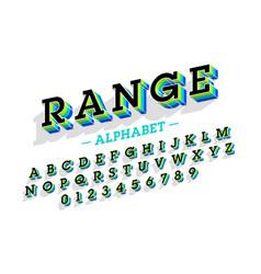 Retro style 3d font vector