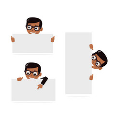 set cartoon boy and blank paper for web site user vector image