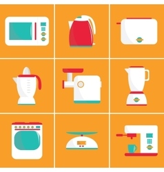 Set of flat kitchen appliances vector image vector image
