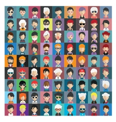 Set of people icons in flat style with faces 18 b vector