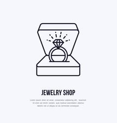shining brilliant ring in gift box vector image