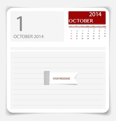 Simple 2014 calendar October vector image