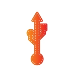 USB sign Orange applique isolated vector image vector image