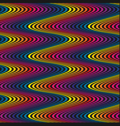 wavy seamless pattern rainbow curved lines vector image