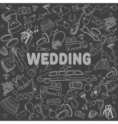 Wedding line art design vector
