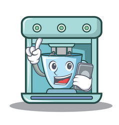 With phone coffee maker character cartoon vector