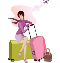 woman with travel cases vector image vector image