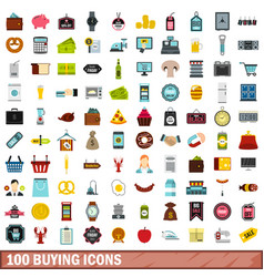 100 buying icons set flat style vector