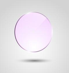 Violet transparent glass circle banner vector