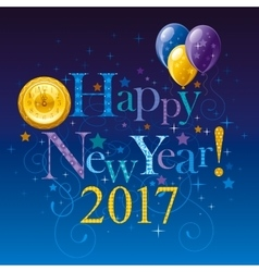 Happy new year 2017 logo icon poster with vector
