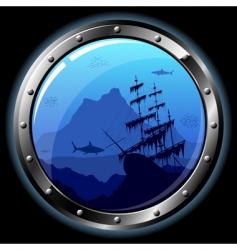 steel porthole vector image