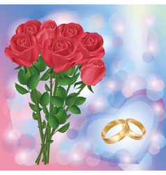 Wedding greeting or invitation card with red roses vector