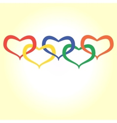 Hearts in olympic style vector
