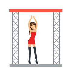 Go-go dancer entertainment girl in sexy red dress vector