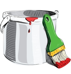 Paint bucket with brush vector