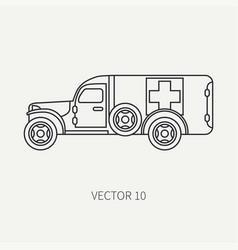 Line flat plain icon ambulance army van vector