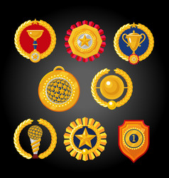 Flat awards collection set of trophies emblems vector